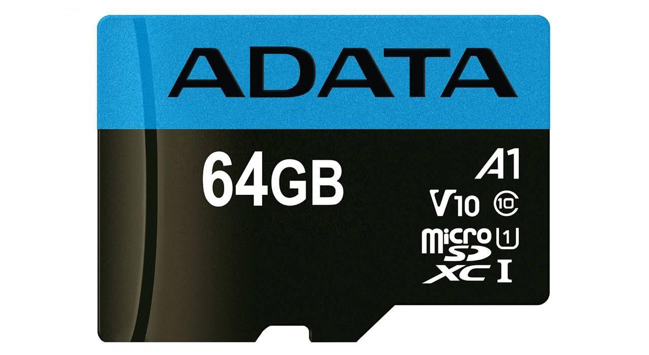کارت حافظه microSDXC ای دیتا مدل Premier V10 A1 کلاس ۱۰ استاندارد UHS-I سرعت ۱۰۰MBps ظرفیت ۶۴ گیگابایت